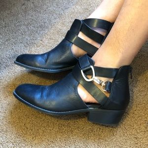Black booties, size 10